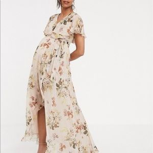 ASOS Maternity Taupe Floral Dress